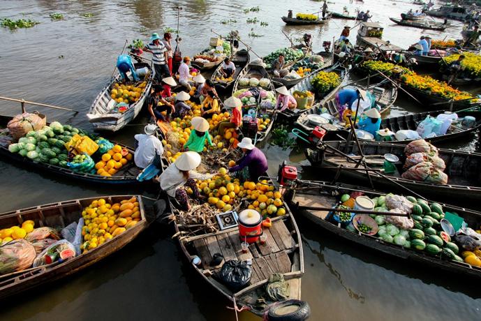 Marché flottant, Mekong, Vietnam